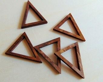 Laser Cut Wood Triangles, 10 Walnut Wood Triangles for Jewelry, Geometric Jewelry,
