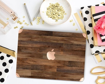 Dark Varnished Wood with Rose Gold Detailing Hybrid Hard Case for Apple Macbook Air & Mac Pro Retina, New Macbook 12""