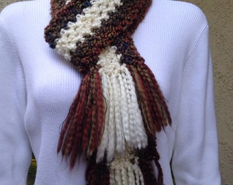 Handmade scarf multi colored with fringe nice and soft