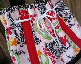 Red, Pink & Black Floral Drawstring Tote with  Pockets