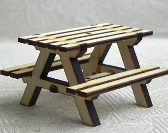 Miniature Picnic Table Handcrafted - for fairy garden or dollhouse, natural unpainted DIY, miniature metal striped umbrella