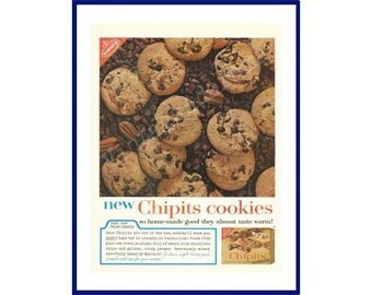 NABISCO CHIPITS COOKIES Original 1962 Vintage Extra Large Color Print Ad - Chocolate Chip Cookies with Pecans