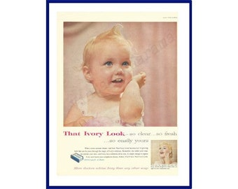 "IVORY SOAP Original 1957 Vintage Color Print Ad - Adorable Baby ""That Ivory Look - So Clear - So Fresh . . . So Easily Yours"""