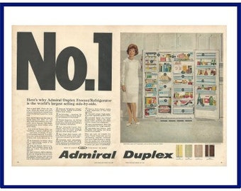 ADMIRAL Duplex Freezer / Refrigerator Original 1967 Vintage Color Print Ad - Open Doors of Side by Side Filled With Food; Julia Mead