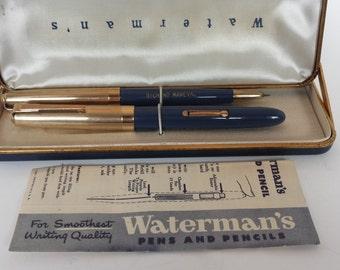 SALE Vintage Waterman Pen and Pencil Set