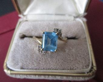 Vintage, Retro, 14kt P November birthstone - BLue Topaz and diamond (tested) ring.  Size 10 3/4