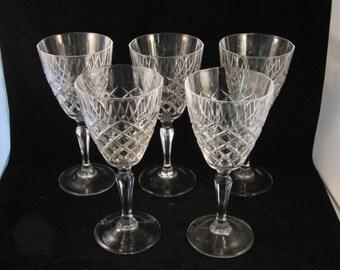 Genuine lead crystal wine glasses  (5 glasses)