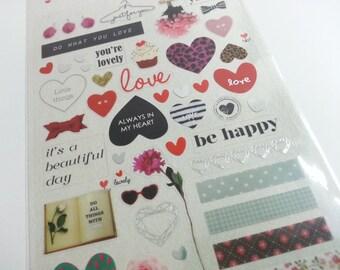 Love Heart Sticker  - 1 Sheet