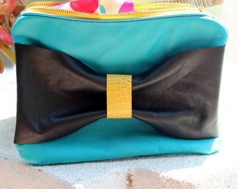 Teal Leather Clutch with Black Bow - Teal Leather Bag - Zipper Leather Clutch with Bow