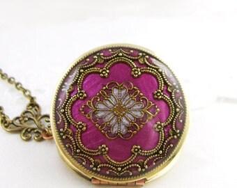 Berry Filigree Locket, Cerise Pink Filigree Diamond Locket, Photo Locket, Valentine Gift For Her Gift For Her,