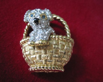 CAROLEE RHINESTONE PUPPY In A Basket Brooch Signed