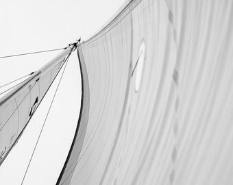 Nautical Coastal Photography - Detail of a Mast and Sail, Close up of a sail, Sail Boat Photography, Beach House Decor, Marine, 8x10 photo