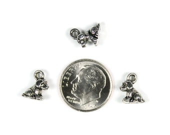 Antique Silver Tiny Dog Charms 10 QTY