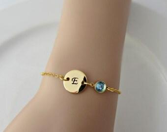 Birthstone Bracelet, Initial Bracelet, Bridesmaid Gift, Aquamarine Birthstone, UK Seller, Gifts for Girls, BFF Gift, March Birthstone