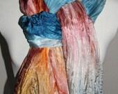 Silk Scarf Handpainted, Silk Shawl, Wrap - Orange, Blue, Burgundy