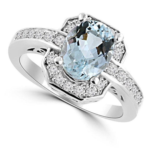 Fine Oval Blue Aquamarine & Diamond Engagement Ring 14k White