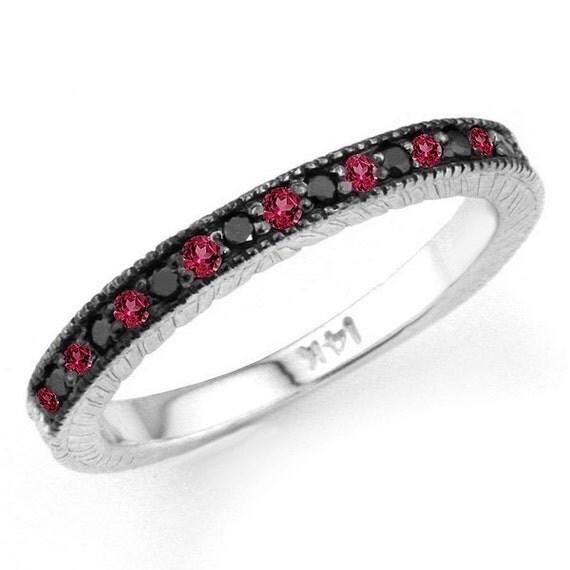 0 20ct Black Diamond & Red Ruby Wedding Ring Band 14k Gold