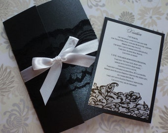 "Lace wedding invitation (sample)- "" Black and white"""