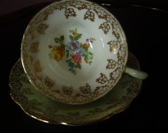 Vintage E B Foley Teacup and Saucer Mint Green With Flowers and Intricate Gold Embellishment