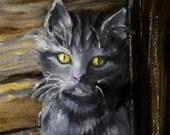 Oil Painting, Cat in the Moonlight, Original Art