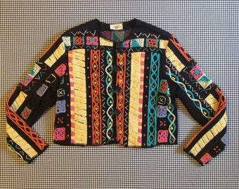 """1990's, """"mixed media"""" jacket, in black, with colorful designs, by Sandy Starkman, Women's size"""