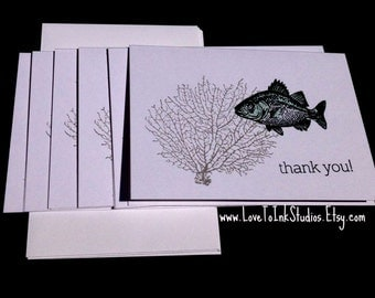 Fish Note Cards Thank You Cards Set of 6 Handstamped