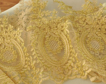 Gold Alencon Lace Trim for Wedding, Bridals, Veils, Jewelry