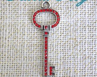 2 Pieces Santa Key, Red Rhinestone Key, Santa Clause Key 2.4 inches long, Rhinestone Skeleton Key Christmas Key 27-6-R