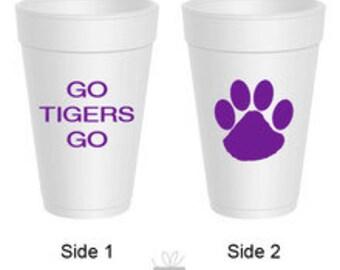 Team Spirit Go Tigers Go Styrofoam Cups, 10 count