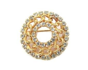 Vintage Circle Brooch, 1970's Gold, Rhinestone Circle Brooch, Pin, 1970's Brooch, Jewelry