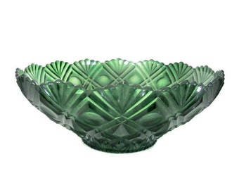 Vintage Green Bowl, 1970's Green Plastic Bowl, Serving, Display Bowl, Decorative Bowl, Vintage Christmas Bowl, Christmas Decor