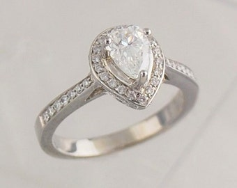 Pear Shaped Engagement Ring- 18k White Gold with 0.55 Ct. Center Diamond