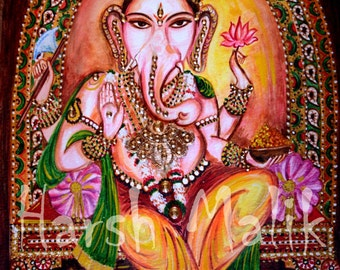 Lord Ganesha, Obstacles Remover, Indian, Spiritual, Painting, Crystals, Hindu, Mythology,  Elephant, healing Art, Bliss, by Harsh Malik