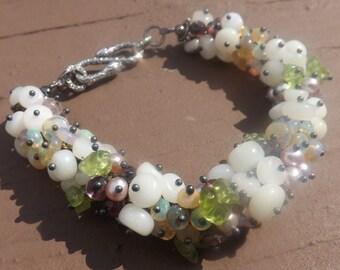 REDUCED! Bouquet of Opals Cluster Bracelet