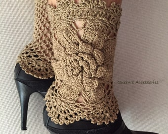 Best Selling Cuffs, Crochet Cream Organic Boot Cuffs with Flower, Leg Warmers, Fall Winter Fashion Accessories