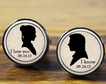 Star Wars (Han Solo & Princess Leia) cufflinks, Personalized cuff links, Personalised gift for wedding, anniversary, Valentine's Day