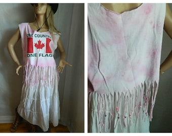50% OFF Vintage Recycle Canadian Novelty Shirt Tie Dyed Fringed Size  XL ( many sizes can wear)