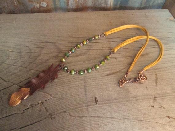 Leather Necklace,  Leather Feather Necklace, Feather Necklace, Beaded Necklace, Necklace