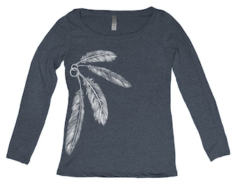 Women's Feather Tri Blend Long Sleeve Scoop Neck Hand Screen Print S,M,L,Xl 6 Colors