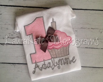 Personalized Cupcake Birthday Applique Shirt, applique, girl, pink, grey, first, bow, candle