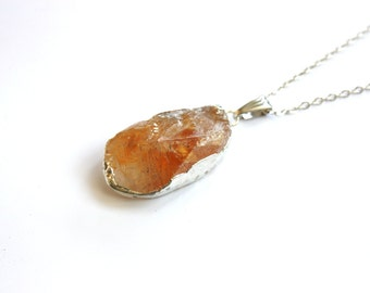 November Birthstone Citrine Natural Gemstone Citrine Pendant with chain -Gift Idea - Ready to Ship