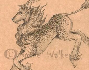 Kirin Sketch, print, Japan, yokai, folklore, good omen, fortune, peace, gentle, creature, stag, dragon, unicorn, drawing Rachel Walker