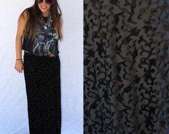 Vintage Black Velvet Burnout Maxi Skirt