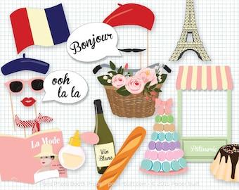 Paris Party Photo Booth Props, Photobooth Props, French, Paris Baby Shower, Paris Bridal Shower, Bastille Day, Ooh la la, Tres Chic