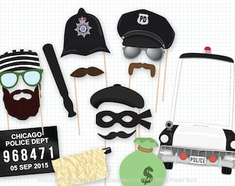 Police Party Prop, Photo Booth Props, Photobooth Props, Wedding Photo Booth, Mugshot Sign, Police Birthday, Cops Robbers, Police Car, Thief