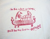 Angry Robot Men's Medium T-shirt: hand-printed blue cotton