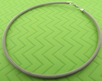 stainless steel mesh choker necklace. 19 inches long