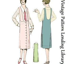 1920s Ladies Jumper With Strap Pockets - Reproduction Sewing Pattern #Z4090