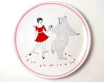 Dancing Bear Hand-Painted Ceramic Dinner Plate
