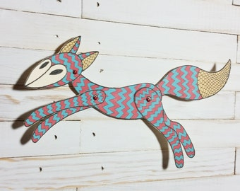 Woodland Animal Fox Paper Doll Puppet, Tribal Fox, Articulated Mechanical Animal, Printable Fox Crafts Animal Digital Downloadable 0071